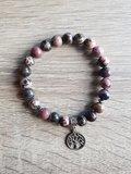 Dames armband Rhodochrosiet Matrix met tree of life bedel